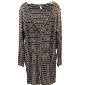 Mai Soli gray/black striped Long Cardigan